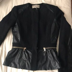 Zara fitted wool and leather peplum jacket size xs